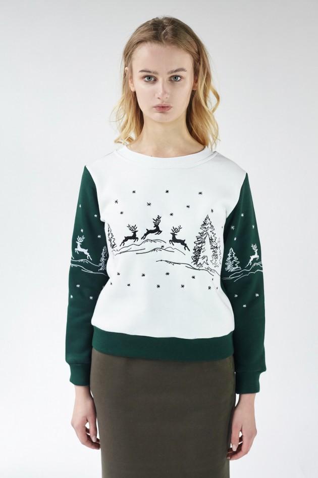 Різдвяний жіночий світшот з Оленями Green