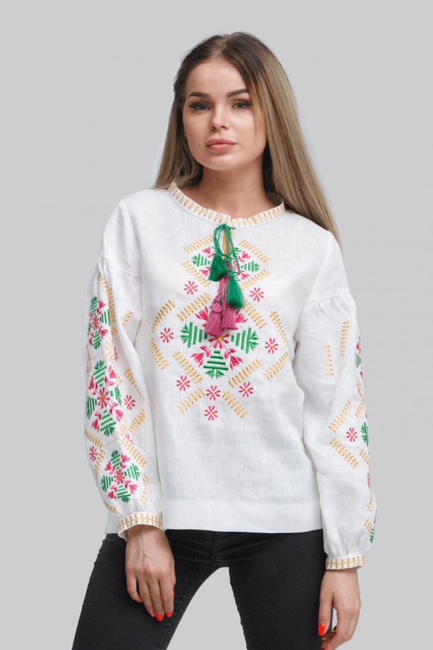 Женская вышиванка блузка White 4
