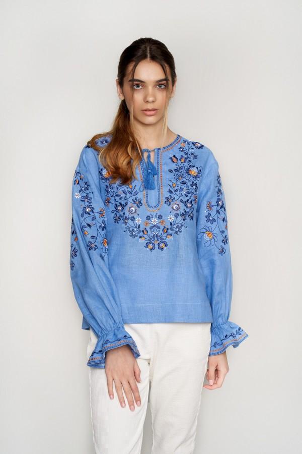 Жіноча вишита блуза Blue 3