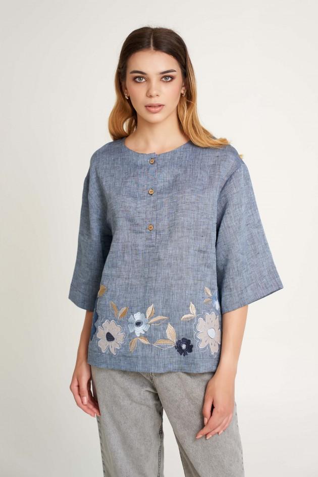 Жіноча блуза з аплікаціями Джинс