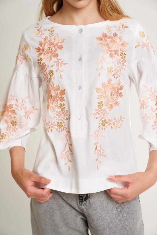 Жіноча вишита блуза Біла з рожевою вишивкою