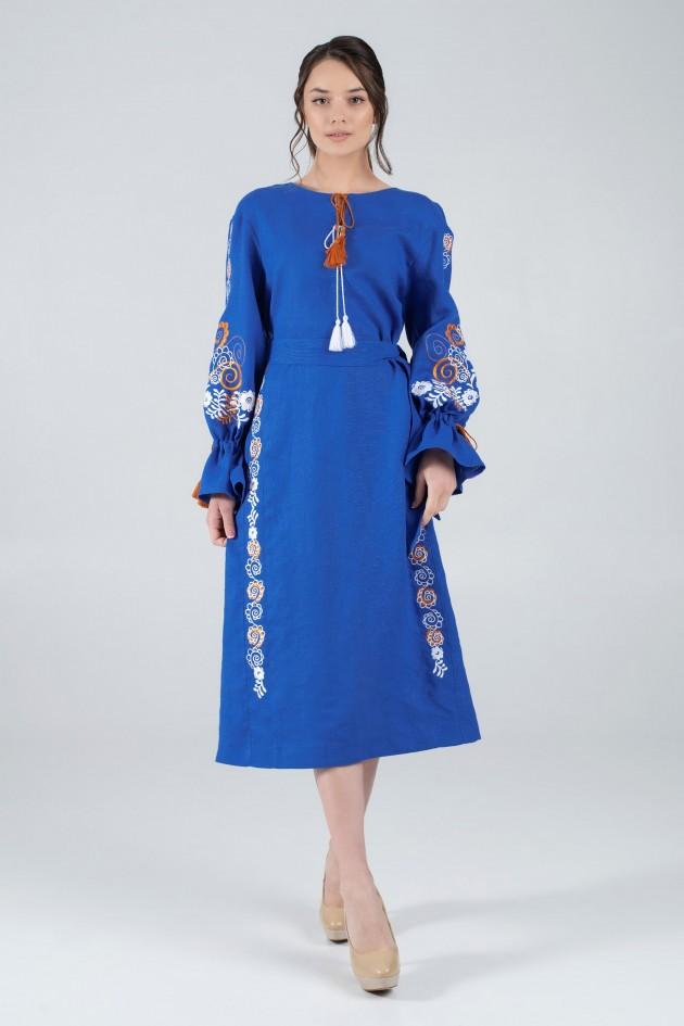 Жіноча вишита сукня синя
