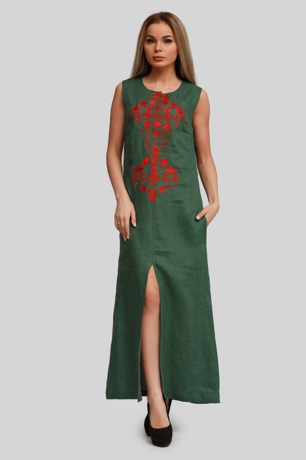 Жіноча вишита сукня без рукава Green 1