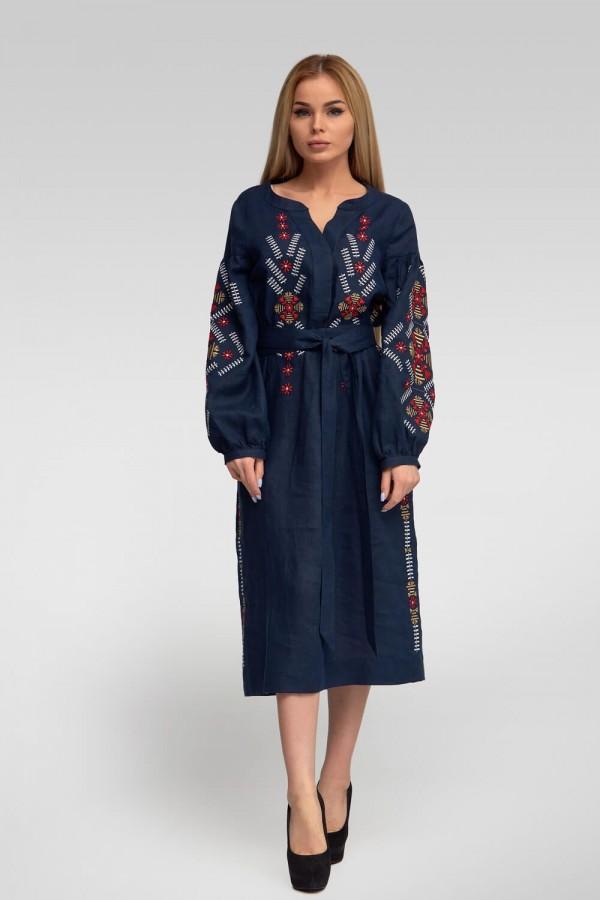 Жіноча вишита сукня Navy blue 3