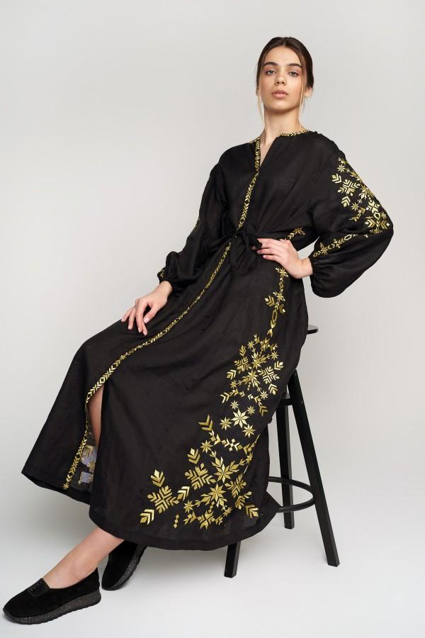 Жіноча вишита сукня Black 4 з золотою вишивкою
