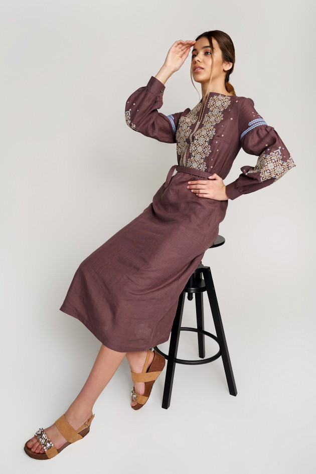 Жіноча вишита сукня Сoffee
