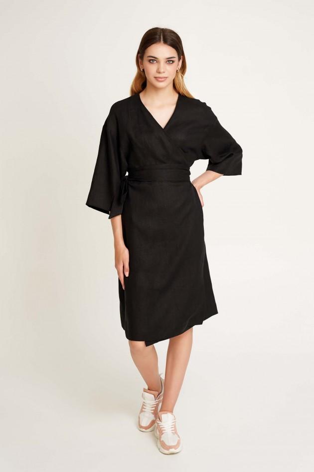 Жіноча сукня на запах без вишивки Чорна