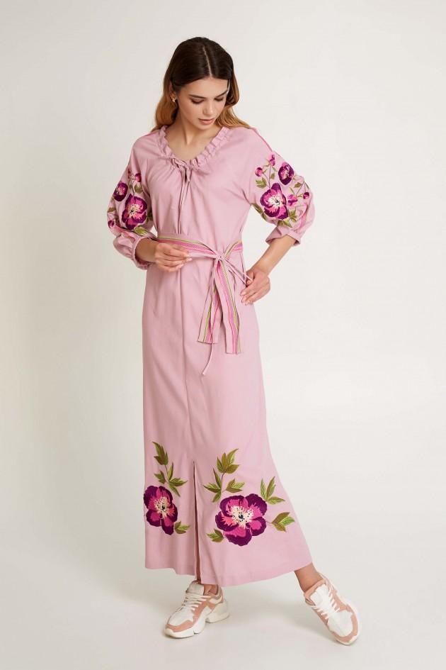 Жіноча вишита сукня Піон Пудра